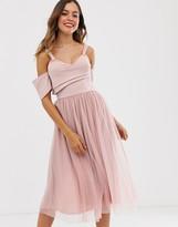 Asos Design DESIGN scuba top cold shoulder tulle midi dress