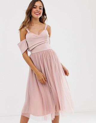 Asos Design DESIGN scuba top cold shoulder tulle midi dress-Pink