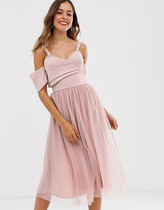 Asos DESIGN scuba top cold shoulder tulle midi dress