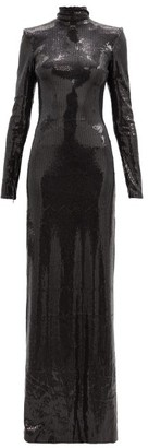 David Koma Cutout-back Sequin-jersey Dress - Black