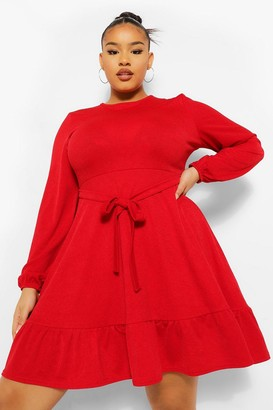boohoo Plus Ruffle Belted Skater Dress