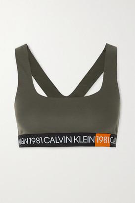 Calvin Klein Underwear Stretch-cotton Jersey Soft-cup Bra - Army green