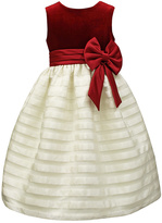 Jayne Copeland Red & Ivory Stripe Velvet Dress - Girls