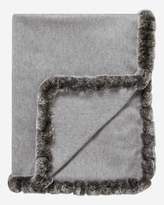 N.Peal Fur Trim Woven Cashmere Shawl