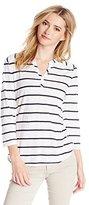 Three Dots Women's Capri Stripe 3/4 Sleeve V-Neck Top
