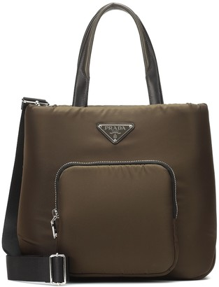Prada Leather-trimmed nylon tote