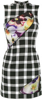 Christopher Kane floral print gingham dress - women - Silk/Nylon/Polyester/Virgin Wool - 38