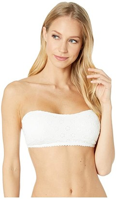 Kate Spade Eyelet Bandeau Bikini Top w/ Removable Soft Cups (White) Women's Swimwear