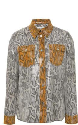Stand Studio Mazal Snake-Effect Collared Leather Shirt