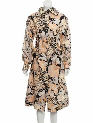 Dries Van Noten Abstract Print Shirt Dress Beige