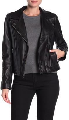 MICHAEL Michael Kors Missy Asymmetrical Zip Leather Moto Jacket