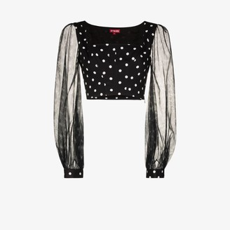STAUD Womens Black Polka Dot Balloon Sleeve Top