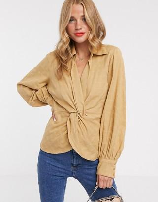 ASOS DESIGN long sleeve twist front top in textured fabric
