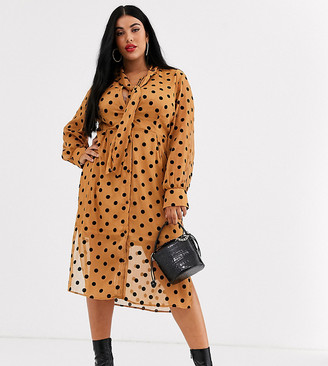 Unique21 Hero front button polka dot pussybow dress