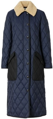 Burberry Detachable Fleece Collar Diamond Quilted Coat