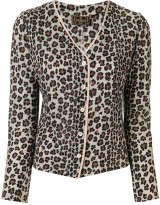 Fendi Pre-Owned leopard printed slim-fit cardigan