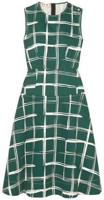 Marni Printed Cotton And Flax-blend Midi Dress
