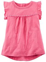 Carter's Girls 4-8 Ruffle Sleeve Floral Trim Top