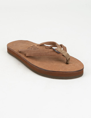 Rainbow Luxury Leather Narrow Strap Womens Sandals