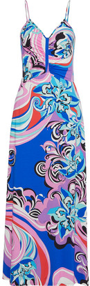 Emilio Pucci Ruched Printed Stretch-jersey Maxi Dress