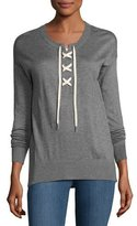 Splendid Lakewood Cashmere-Blend Lace-Up Pullover, Heather Cinder