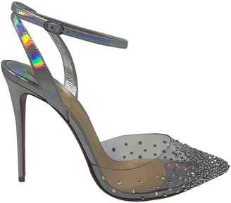 Christian Louboutin Degrastrass Silver Leather Heels