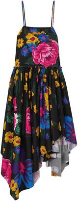 Marques Almeida Asymmetric Gathered Floral-print Cotton Midi Dress