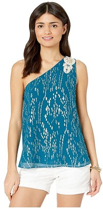 Lilly Pulitzer Sienne One Shoulder Silk Top (Inky Tidal Fish Clip Chiffon) Women's Sleeveless