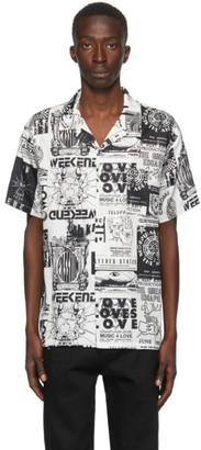 Double Rainbouu White and Black Weekend World Hawaiian Short Sleeve Shirt