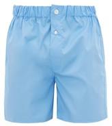 Emma Willis - Superior Cotton Poplin Boxer Shorts - Mens - Blue