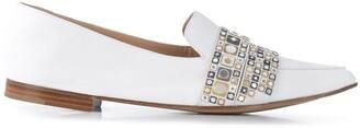 Casadei Metallic Embellished Flat Loafers