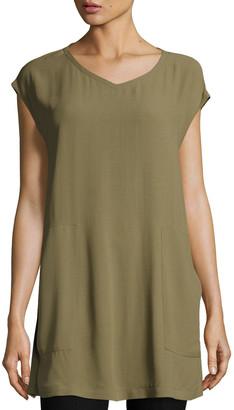 Eileen Fisher V-Neck Silk Georgette Crepe Tunic w/ Pockets