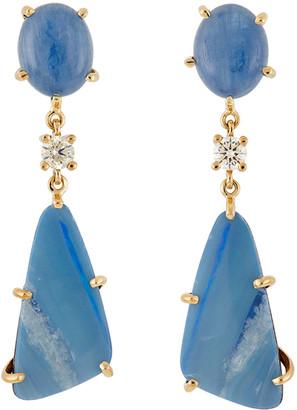 Jan Leslie 18k Bespoke 2-Tier Tribal Luxury Earrings w/ Kyanite, Opal Doublets & Diamonds