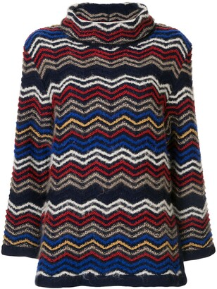 Yves Saint Laurent Pre-Owned Roll Neck Zig-Zag Pattern Jumper