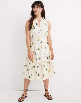 Madewell Eyelet Ruffle-Neck Tiered Dress in Sunflower Scatter