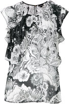 Just Cavalli floral print ruffled blouse