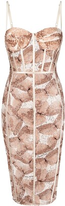 Elisabetta Franchi Butterfly Print Lace Fitted Dress