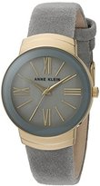Anne Klein Women's Quartz Metal and Suede Dress Watch, Color:Grey (Model: AK/2614GMGY)