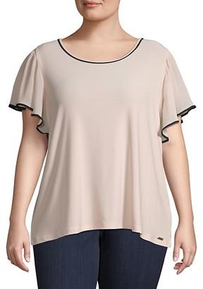 Calvin Klein Plus Flutter-Sleeve Chiffon Top