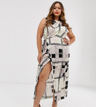 Asos DESIGN Curve sleeveless maxi dress in mono check print-Multi