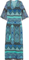 Matthew Williamson Pompom-trimmed Printed Silk-chiffon Coverup - Turquoise