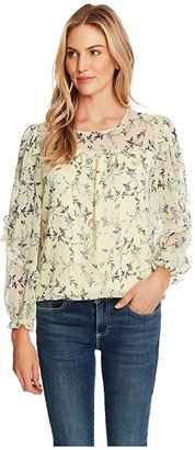 CeCe Long Sleeve Wisteria Vines Ruffled Blouse (Lemonade) Women's Clothing