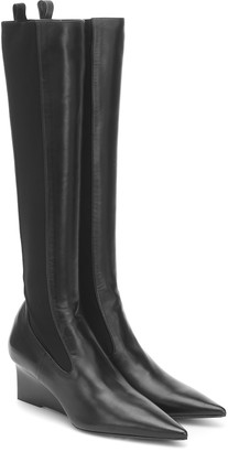 Jil Sander Leather wedge knee-high boots