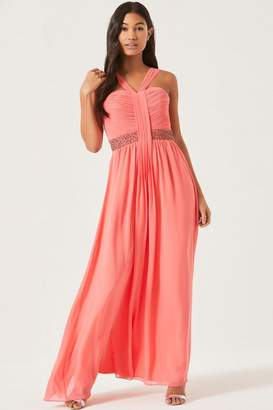 Coral Embellished Waist Maxi Dress