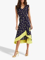 Phase Eight Aurelia Spot Dress, Ink/Lime