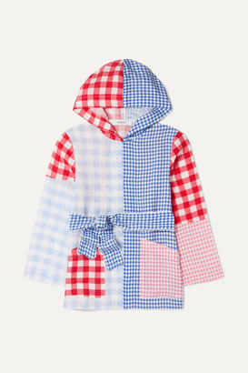 Marysia Kids - Patchwork Gingham Linen Hooded Robe - Blue