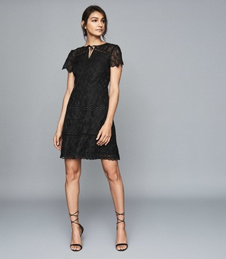 Reiss CZARA LACE MIDI DRESS Black