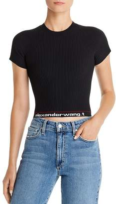 Alexander Wang Body Stocking High-Stretch Cropped Logo Tee