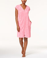 Miss Elaine Embossed Micro-Terry Zip-Front Robe