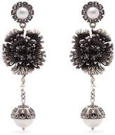 Erdem Faux-pearl flower-drop clip-on earrings